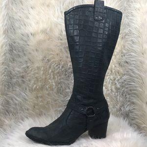 Born tall gray heeled boot snakeskin crocodile 8.5